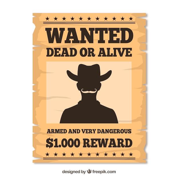 Западный ретро плакат, чтобы найти преступника Бесплатные векторы