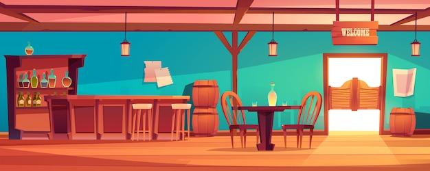 西洋の大広間のインテリア、バーのある野生の西の居酒屋 無料ベクター