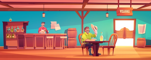 Western saloon with cowboy and barman Free Vector