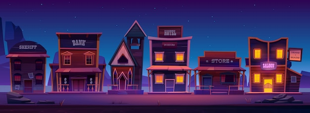 Western town with old buildings at night Free Vector