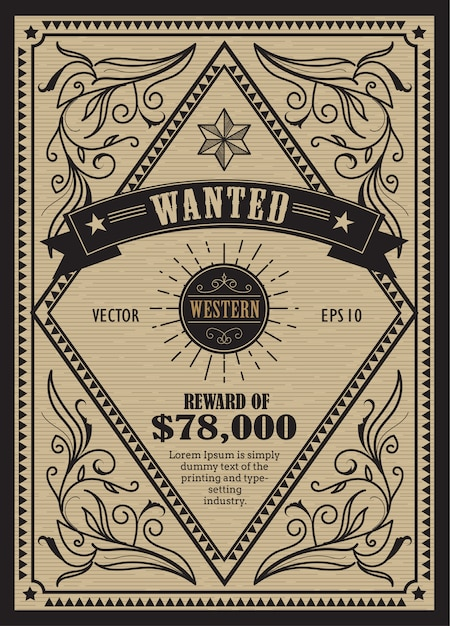 Western vintage frame antique label wanted retro hand drawn Premium Vector
