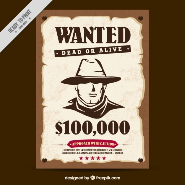Western wanted poster Vector Free Download