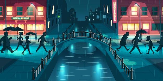 Wet, sloppy autumn weather cartoon vector concept. people under umbrellas walking on city street slush, crossing bridge illuminated with lampposts and signboards lights at rainy evening illustration Free Vector