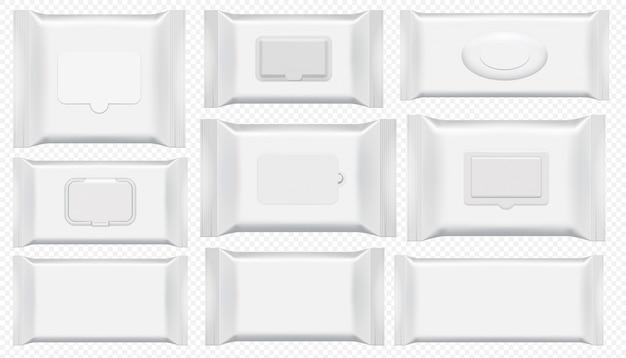Пакет влажных салфеток. антибактериальный протрите пластиковый пакет шаблон изолированные набор. пустой белый ящик вид сверху для мокрой туалетной бумаги. косметическая пленка на прозрачном фоне Premium векторы