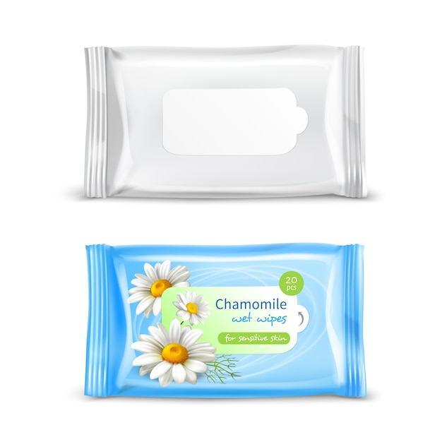 Wet wipes package realistic set Free Vector