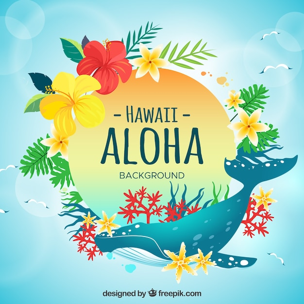 Whale Aloha Background Free Vector