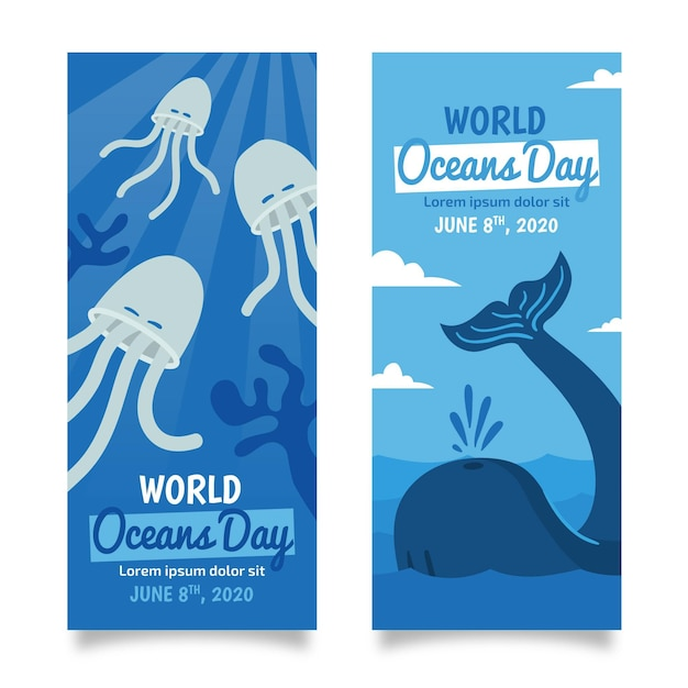 Кит и медузы рисованной баннер день океанов Бесплатные векторы