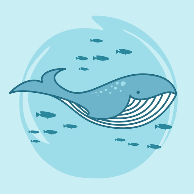 Whale cartoon doodle kawaii cute whale Premium Vector