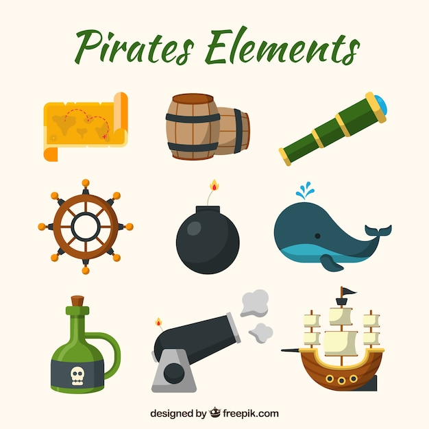 Whale and elements set of pirate adventures Free Vector
