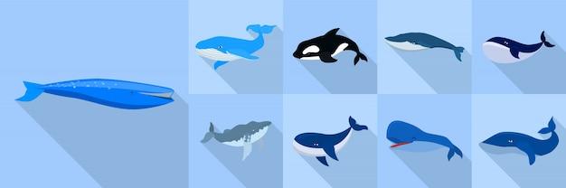 Whale icon set, flat style Premium Vector