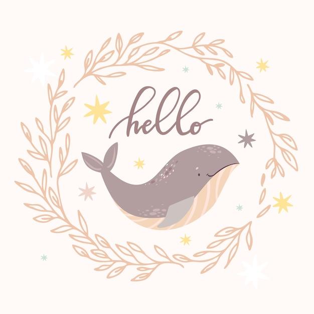 こんにちは花輪のクジラ 無料ベクター