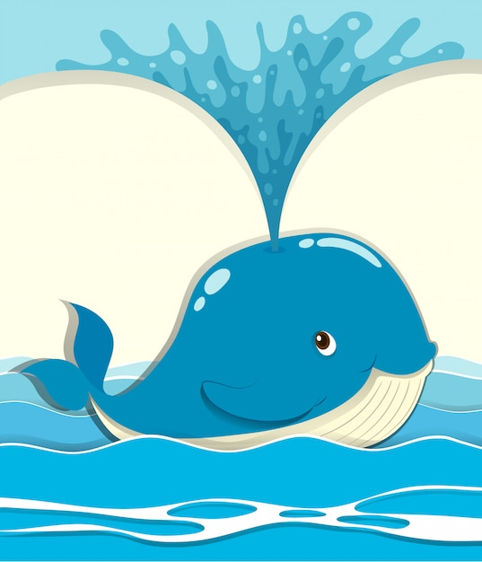 Whale splashing water out Free Vector