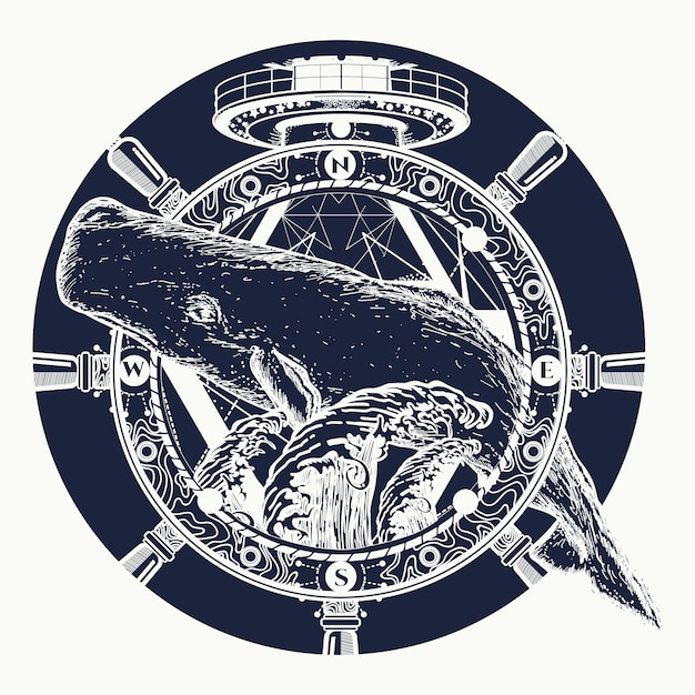 Whale and steering wheel, tattoo Premium Vector