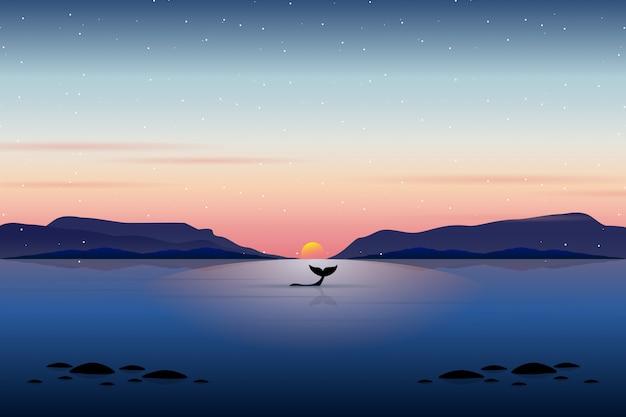 Кит плавание с закатом морской пейзаж Premium векторы