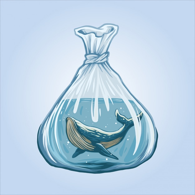 Whales are not free illustration Premium Vector