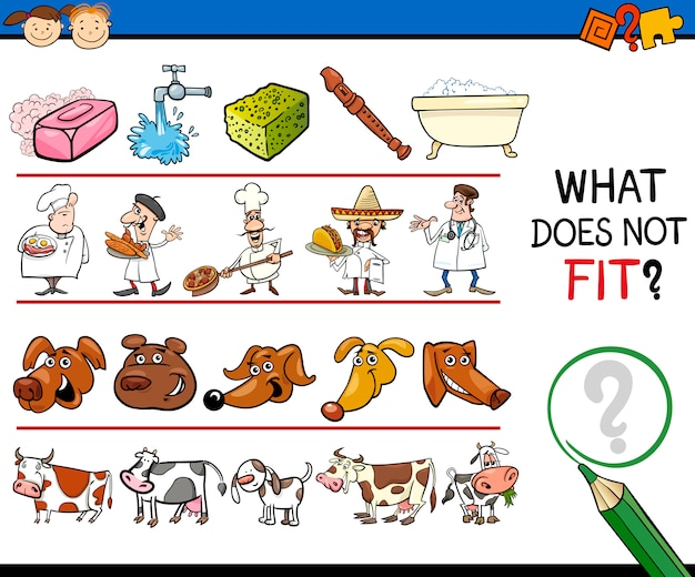 What does not fit game cartoon Premium Vector