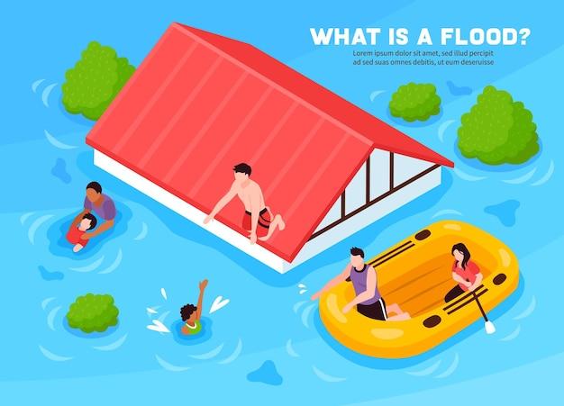 Che cos'è il poster isometrico alluvione con persone che escono di casa su un gommone Vettore gratuito