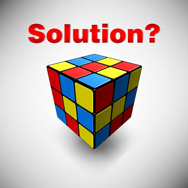 What is the solution cube Premium Vector
