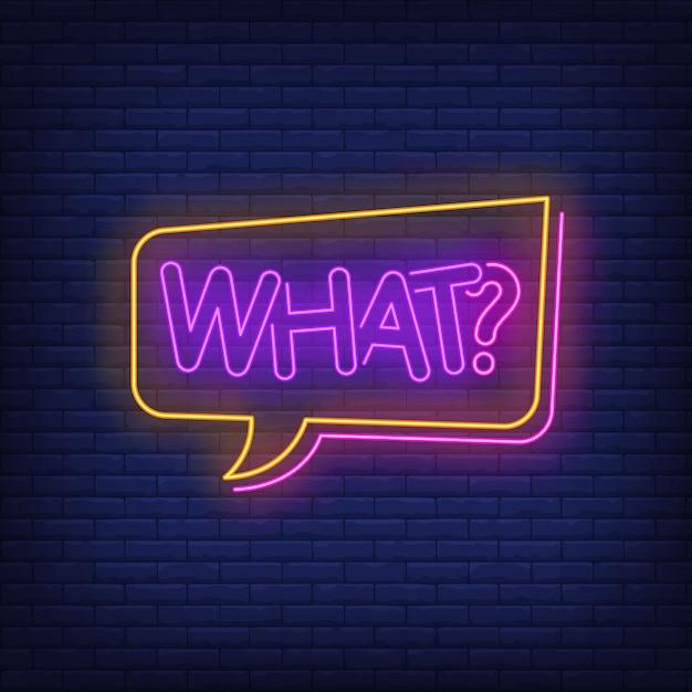What neon lettering in speech bubble. Free Vector