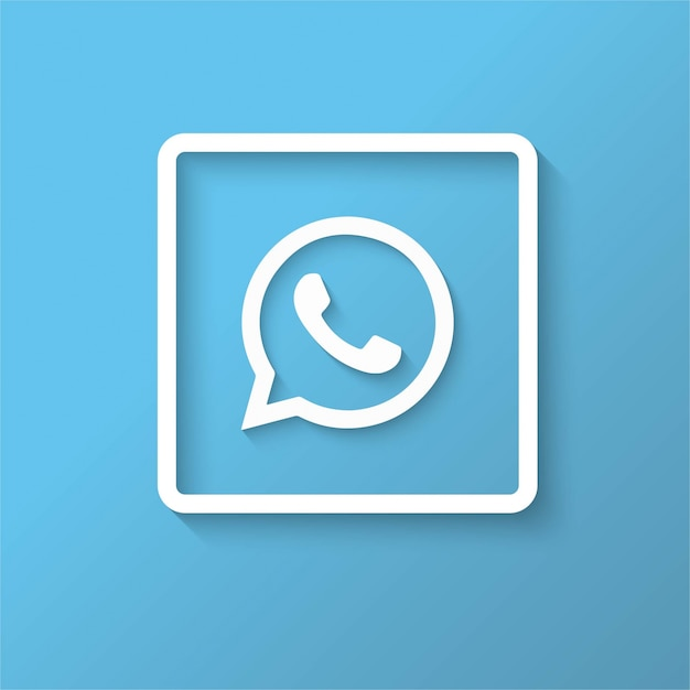 Whatsapp blue icon design Free Vector