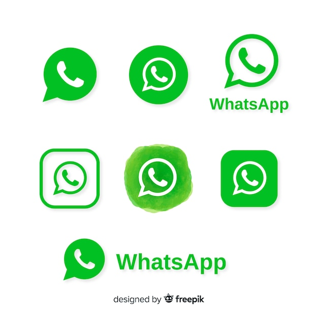 Whatsapp icon collection Free Vector