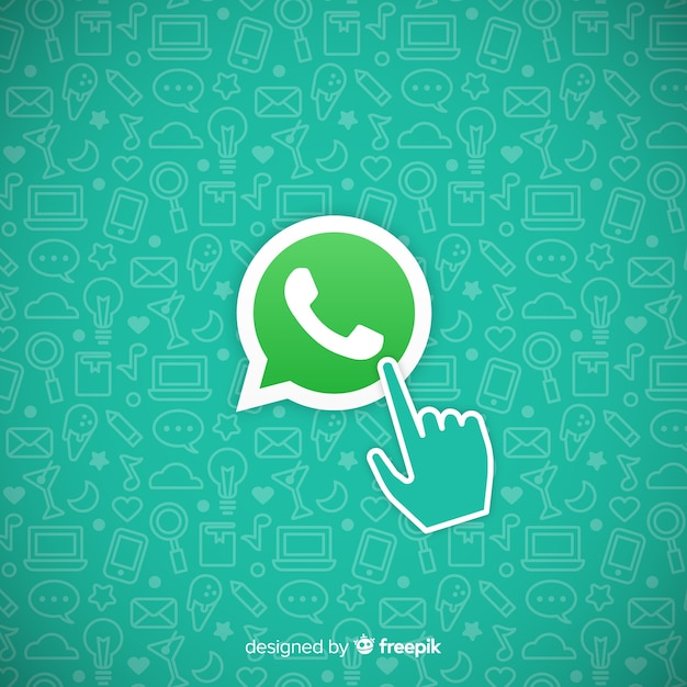 Whatsapp icon with hand Free Vector