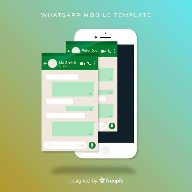 Whatsapp screen template Free Vector