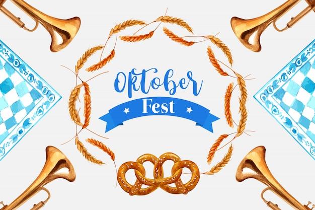 Wheat, barley and pretzel frame design for oktoberfest banner Free Vector