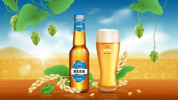 Banner di annunci di birra artigianale di grano Vettore gratuito