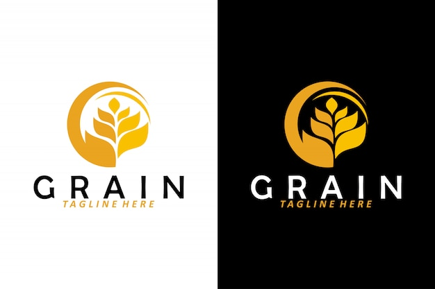 Wheat grain logo vector isolated Premium Vector