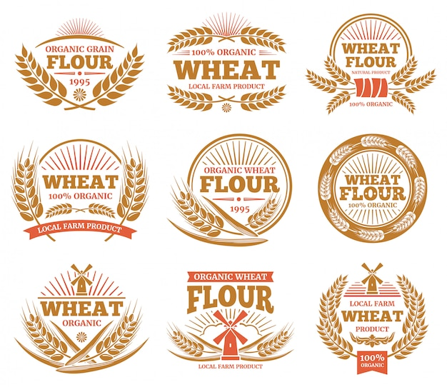 Wheat grain product and bread labels. nature wheat ears badges. Premium Vector