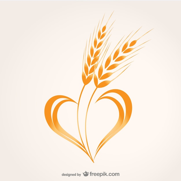 Wheat heart composition vector Vector   Free Download