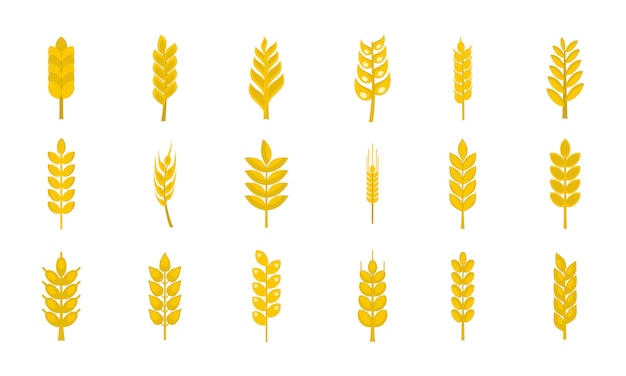 Wheat icon set. flat set of wheat vector icons collection isolated Premium Vector