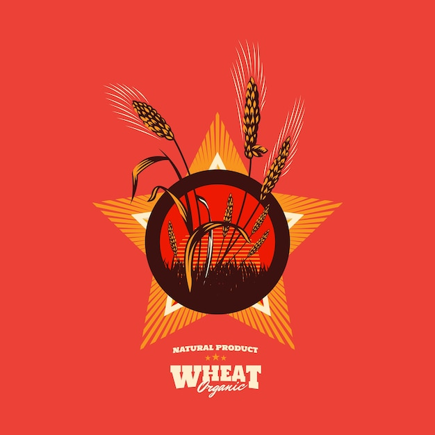 小麦の有機穀物のエンブレム Premiumベクター