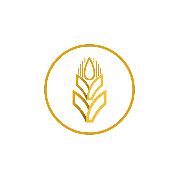 小麦ベクトルロゴデザイン Premiumベクター