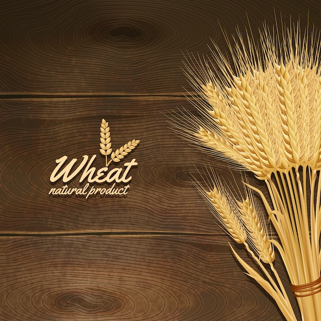 Wheat on wooden table Free Vector