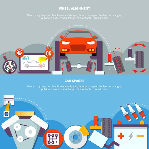 Wheel alignment and car spares horizontal banner Free Vector