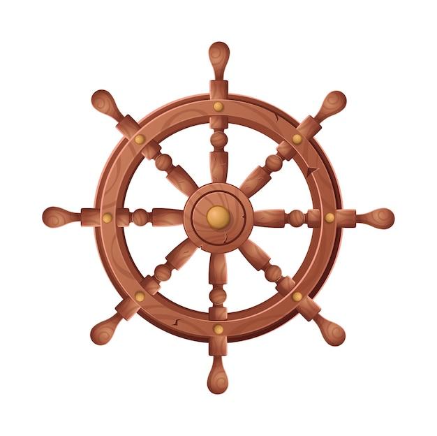 Колесо для иллюстрации шаржа корабля, на белой предпосылке. Premium векторы