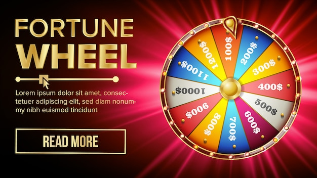 Wheel of fortune banner template Premium Vector