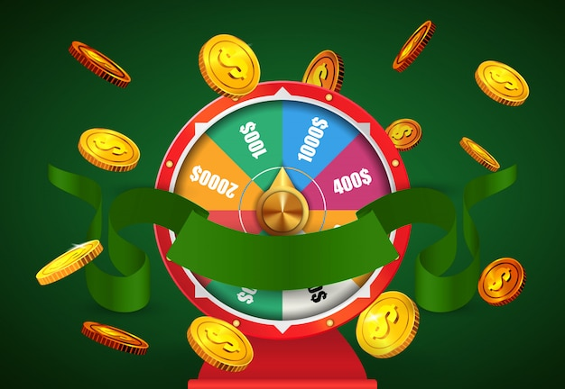 Wheel of fortune, flying golden coins and green ribbon. casino business advertising Free Vector
