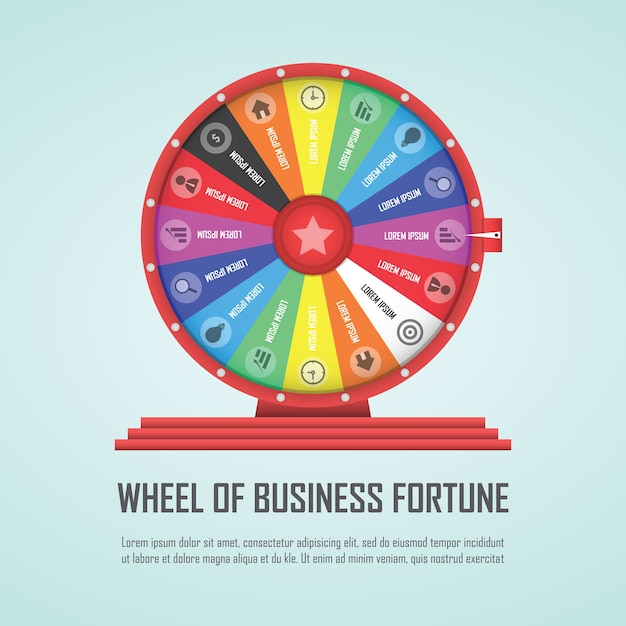 Wheel of fortune infographic design element Premium Vector