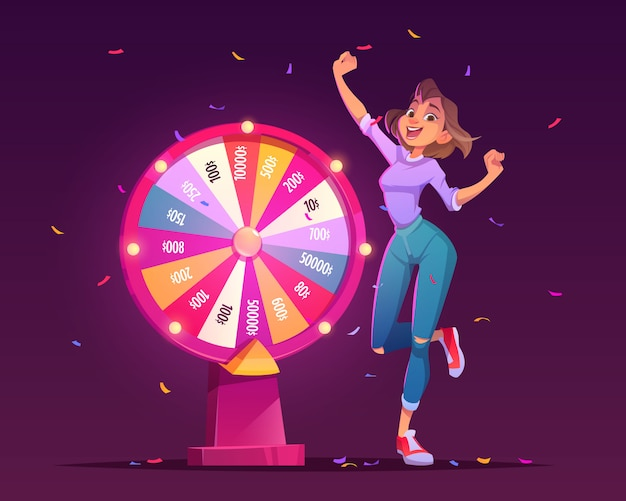 Wheel of fortune and lucky girl winner in casino Free Vector