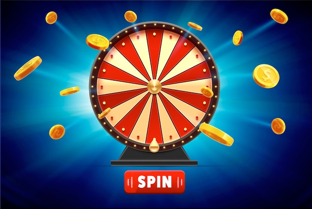 Wheel of fortune with gold coins 3d object isolated on blue glow Premium Vector