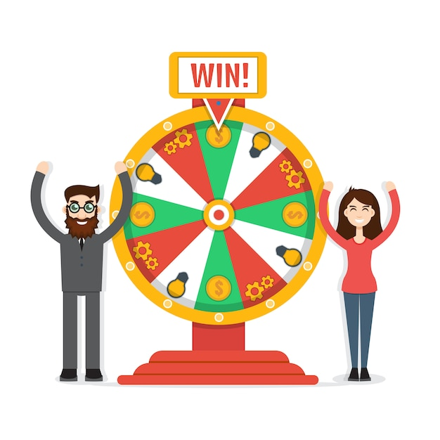 Wheel of fortune with man and woman Premium Vector