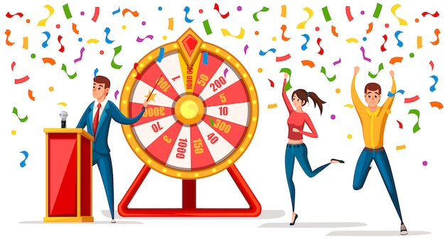 Wheel of fortune with men and confetti. winners man and women. wheel game ,winner play luck  style.  illustration  on white background Premium Vector