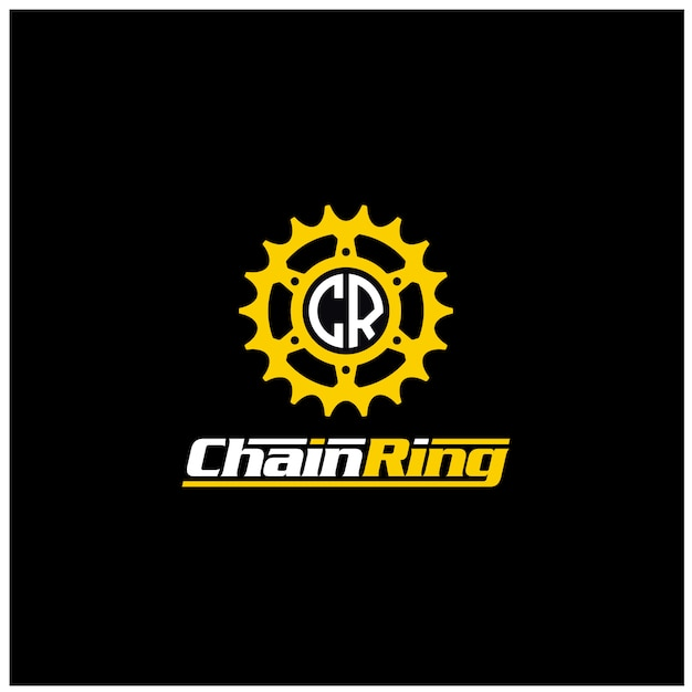 Wheel gear sprocket cogs chain ring engine machine bike bycicle motor logo design Premium Vector