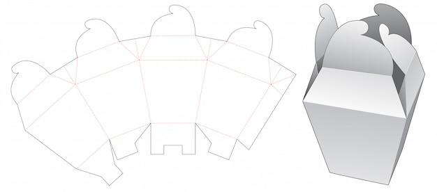 Wheel lock packaging box die cut template Premium Vector