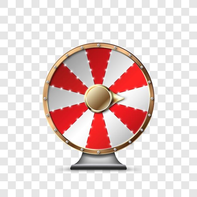 투명한 배경에서 잭팟을 플레이하고 승리하는 행운의 바퀴. 행운의 룰렛. 행운의 룰렛에서 승리하십시오. 삽화 프리미엄 벡터