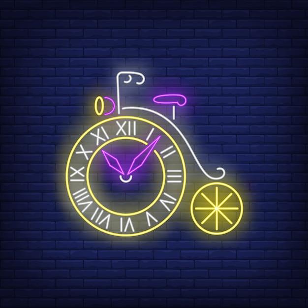 Wheel shaped clock neon sign Free Vector