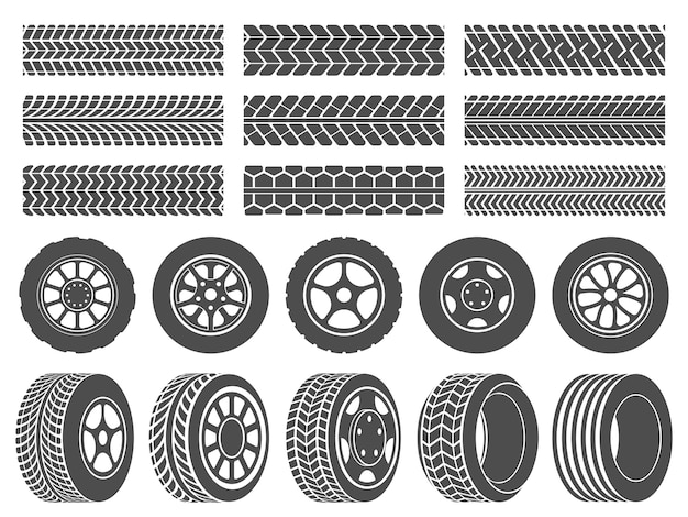 Wheel tires. car tire tread tracks, motorcycle racing wheels icons and dirty tires track   illustration set Premium Vector